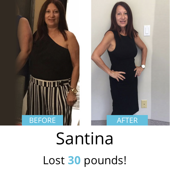 Santina lost 30 pounds