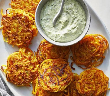 Butternut Squash Latkes with yogurn and cilantro dressing