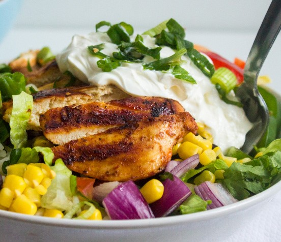 Bean-free chicken burrito salad bowl